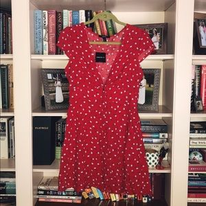 Red floral button up dress